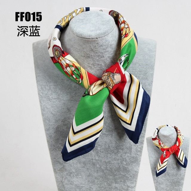 Twill Silk Scarf Multicolor Geometric Square Scarf Print Kerchief Woman Neck Shawl Wraps Spring And Autumn Foulard Female FF014-geekbuyig