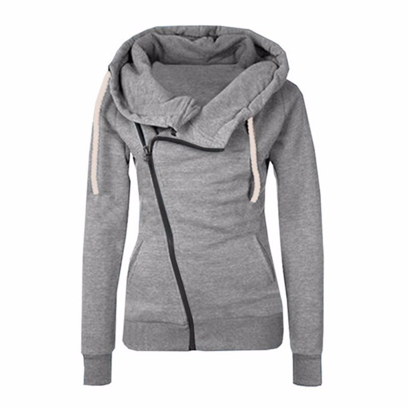 2016 New Women Sweatshirts Solid Color Hooded Jacket Long Sleeve Women's Hoodie Zipper Fall Winter Women Coat-geekbuyig