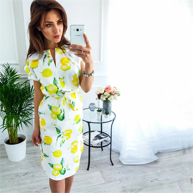 Print Dress 2018 New Fashion Women V-Neck Short Sleeve Summer Dresses Casual Sashes Robe Dress Vestidos-geekbuyig