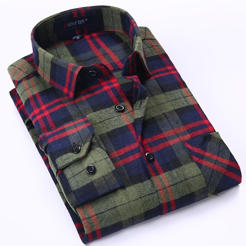 Men's Long Sleeve Brushed Checkered Plaid Shirt Patch Left Pocket Classic Casual Standard-Fit Comfortable and Soft Dress Shirts-geekbuyig