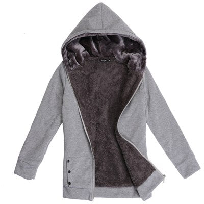 Sweatshirt Women 2018 Autumn Winter Women Hoodies Sweatshirts Thicken Faux Fur Hoodies Women Long Jacket Coat sudadera mujer-geekbuyig