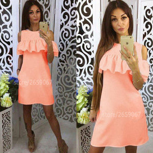 Cold Shoulder Ruffles Solid Colour Summer Dress Women 2018 O-Neck Butterfly Sleeve Casual Dress Party Mini Dresses-geekbuyig