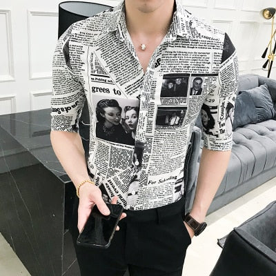 High Quality Summer Tuxedo Shirt Half Sleeve Slim Fit Newspaper Print Shirt Men Casual Night Club Party Dress Shirts Mens 3XL-M-geekbuyig