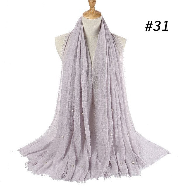 Badinka 2018 New Summer Plain Cotton Crinkle Pleated Pearl Hijab Scarf Foulard Perle Women Wrinkle Bubble Muslim Head Wrap Scarf-geekbuyig