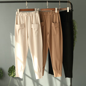 New Chiffon Women Office Work Pants Elastic Waist Casual Spring Summer Pencil Pants Soft Capris with Big Pocket Plus Size Trouse-geekbuyig