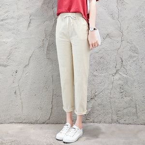 2018 Summer Autumn Women Casual Harajuku Long Ankle Length Trousers Plus Size Solid Elastic Waist Cotton Linen Pants Black Pant-geekbuyig