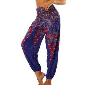 2018 New Women Thai Long Lantern Pants Boho Hippie Southeast Asian Ethnic Style Comfy Loose Casual Elastic Waist Belly Trousers
