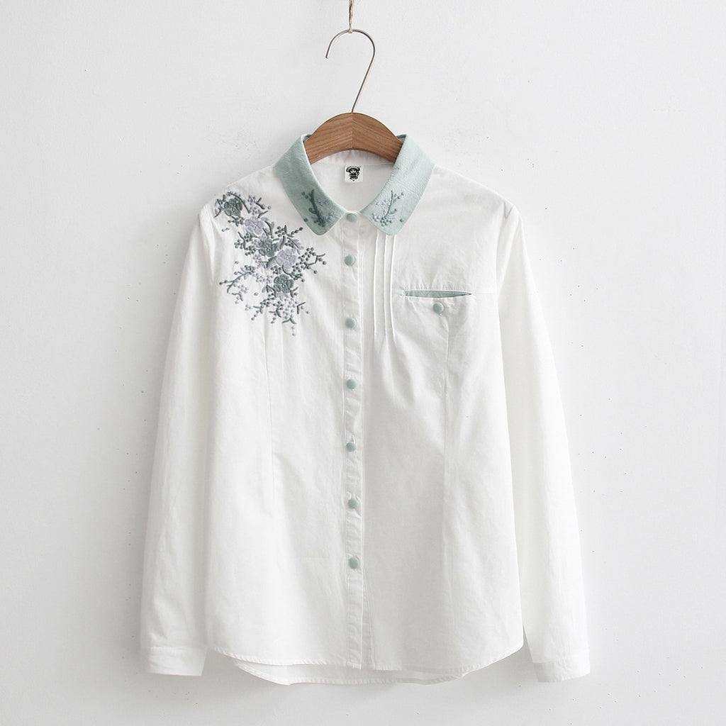 Women Blouses Floral Embroidery White Female Casual Ladies Tops Long Sleeve Shirts Cotton Clothes Autumn Blusas Work Office Wear-geekbuyig