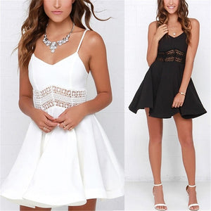 White Black Vestidos 2018 Summer Fashion Women Sexy Strap V Neck Crochet Lace Waist Skater Dress Casual Party Mini Short Dresses-geekbuyig