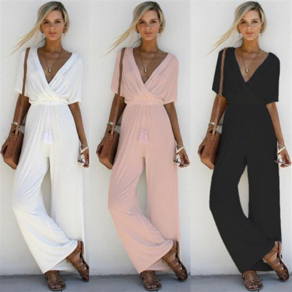 2018 Summer Spring Woman Jumpsuit Wide Pant V-neck Loose Casual Fahion Shatter Jumpuit Slim Short Sleeve Black Lace Up-geekbuyig