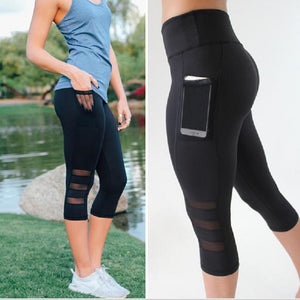 2018 Black sexy Fitness sporting Capri Pants Women's High waist Elastic Mesh Legging pants with pocket Cropped trousers leggings-geekbuyig