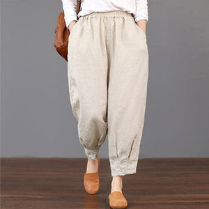 2018 Summer ZANZEA Women Casual High Elastic Waist Pockets Harem Trousers Solid Cotton Linen Loose Cargo Pants Turnip Pantalon-geekbuyig