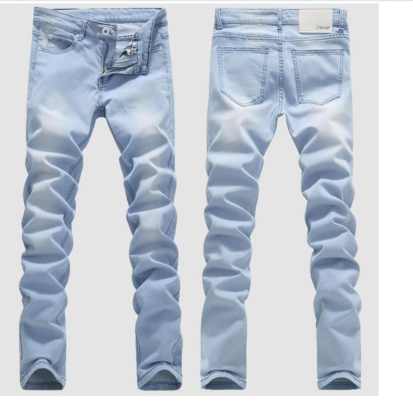 Good Quality Light Blue Skinny Jeans Men Spring Summer Slim Denim Jeans Men Cotton Elastic Denim Pants Cowboy Trousers-geekbuyig