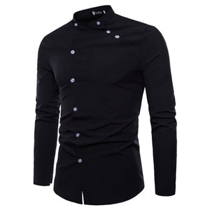 New Europe and the United States men's shirt fashion tailor-made double door design long-sleeved men's shirt casual travel shirt-geekbuyig