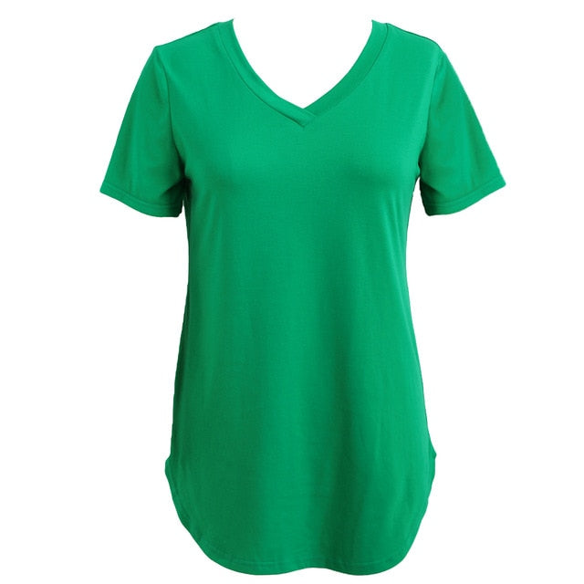 Women's T-shirt Summer Plus Size Tee Basic Shirts Women Solid V Neck Short Sleeve Long Casual Big Size Female 4XL 5XL Tops Femme-geekbuyig