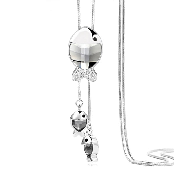 DuoTang Classic Owl Necklace Silver Color Long Popcorn Chain Animal Crystal Rhinestone Pendant Necklace For Women Gift Jewelry-geekbuyig