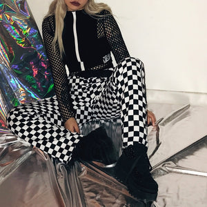Chessboard Pant Drawstring Plaid Black White Grid Women Pants Unisex Trousers Elastic Waist Loose Casual Hipster Pants-geekbuyig