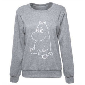 Kawaii Cartoon Printed Sweatshirt 2017 Autumn Winter Loose Women Hoodies Funny Casual Female Pullover O-Neck Hip-Hop Sweatshirts-geekbuyig