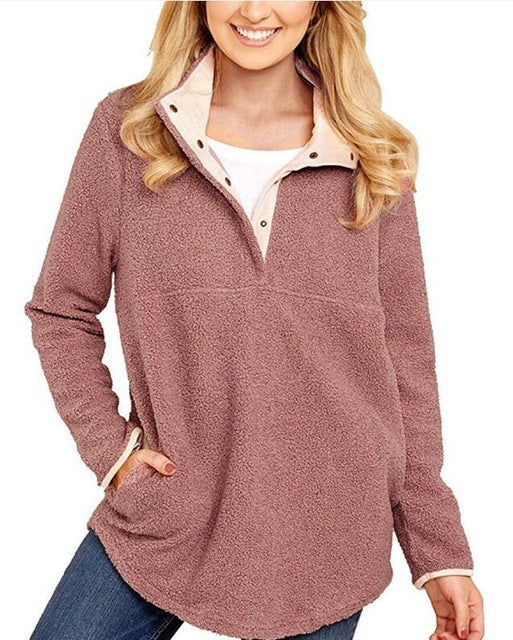 New winter Europe and the United States collar long sleeve loose solid color pocket wool linen shirt women hoodie women-geekbuyig
