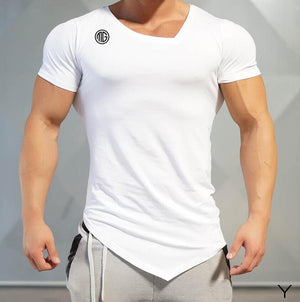 2018 Summer Fashion Brand T-Shirt Mens Gyms Clothing V-neck Short Sleeve Slim Fit T Shirt Ftiness Men compression Tshirt homme-geekbuyig