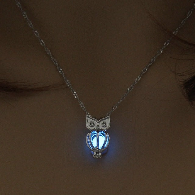 Charm Glowing Owl Pendant Necklace Cute Luminous Jewelry Choker 3 Colors Christmas Gift For Women Necklace Fashion Dropshipping-geekbuyig