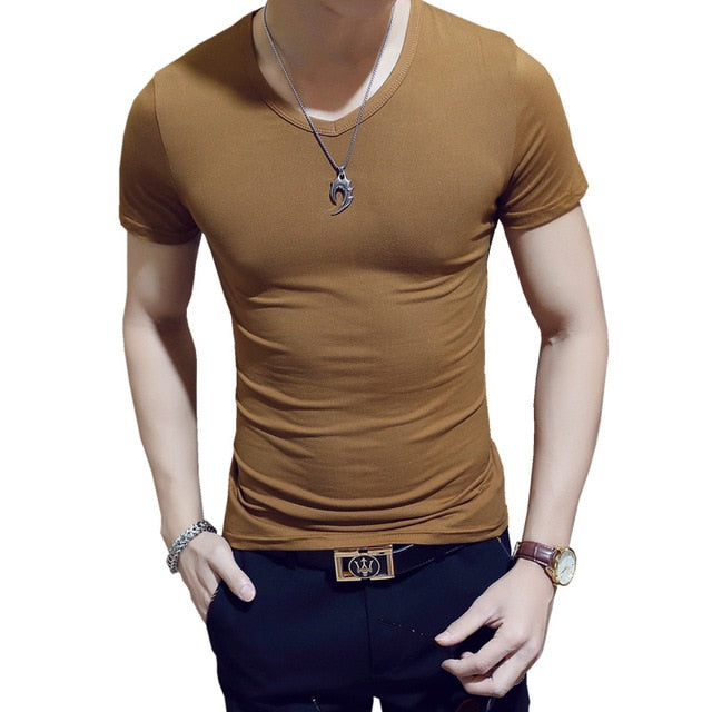 MRMT 2018 Brand Pure Black Mens T-Shirt Cotton Short Sleeved V-Neck Men T Shirt Solid Color Fitness Tee Tshirts For Male-geekbuyig
