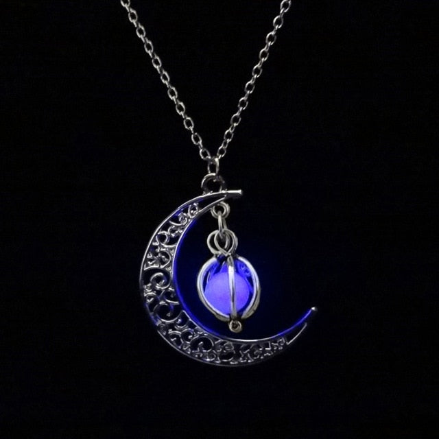 Glow In the Dark Pendant Necklaces For Women Silver Plated Chain Long Night Moon Necklaces Women Fashion Jewelry Necklaces-geekbuyig