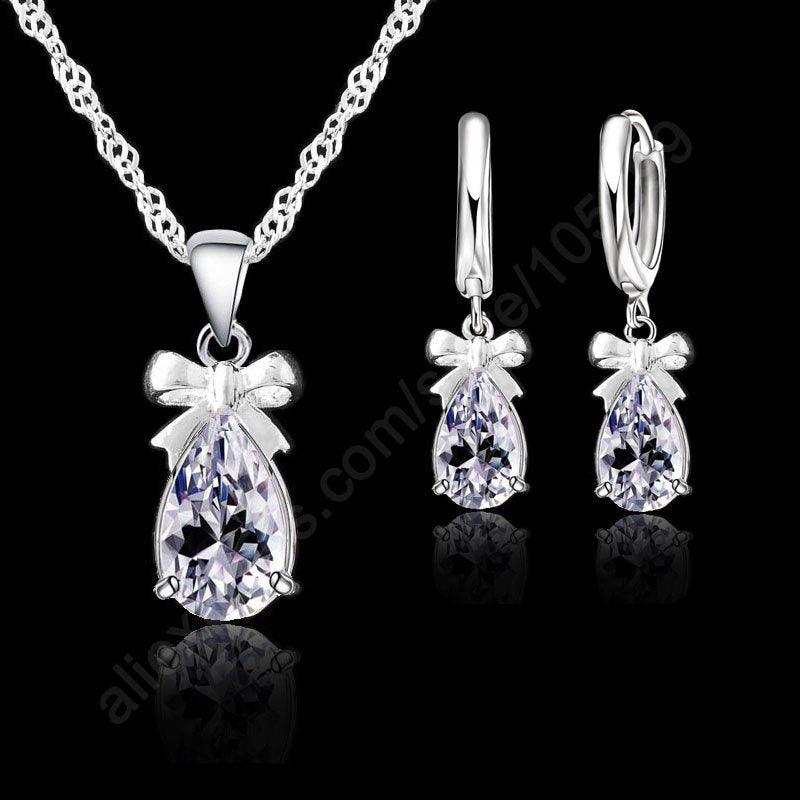 New Fashion 925 Sterling Silver Necklace Earrings Set With Clear Crystal Bow Tie Decoration Women Girls Party Engagement Jewelry-geekbuyig