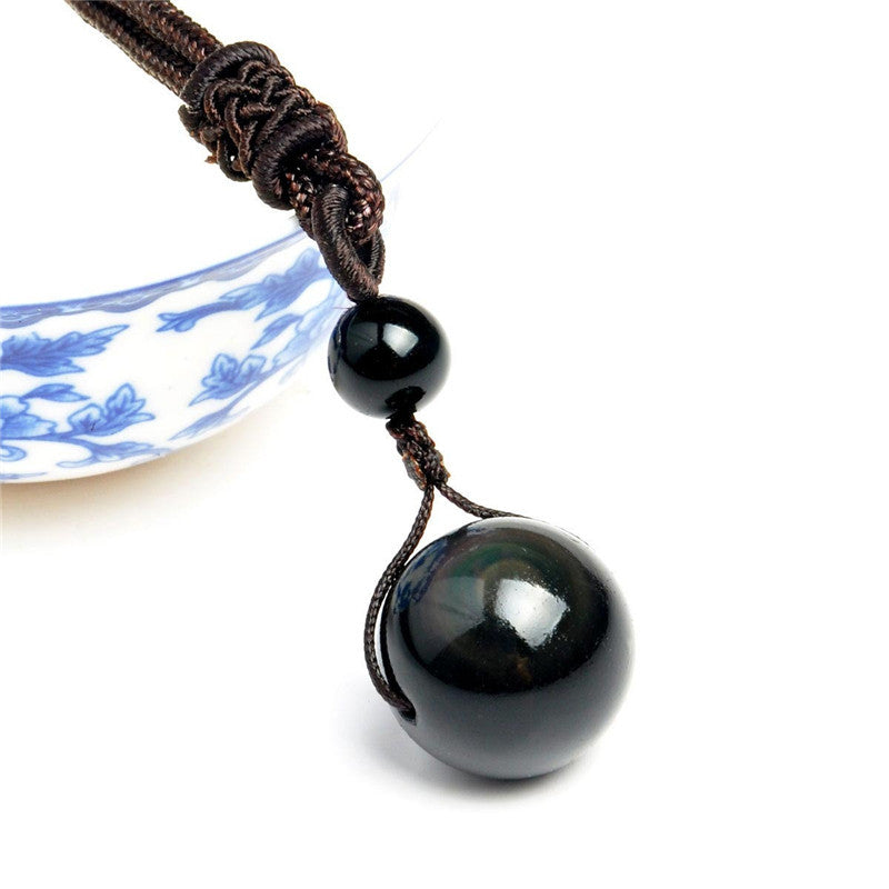 Black Obsidian Rainbow Eye Beads Ball Natural Stone Necklace Pendant Transfer Lucky Love Crystal Jewelry Free Rope For Women Men-geekbuyig