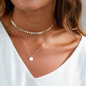 X130 Boho Multilayer Necklace Gold Color Coin Chokers Necklace Women Beads Round Neck Charm Collares Cortos Mujer 2018-geekbuyig