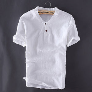 Plus Size M-5XL Mens Pullover Linen Shirts Short Sleeve Summer Mens Quality Casual Shirts Slim fit Solid Cotton Shirts TS-150A-geekbuyig