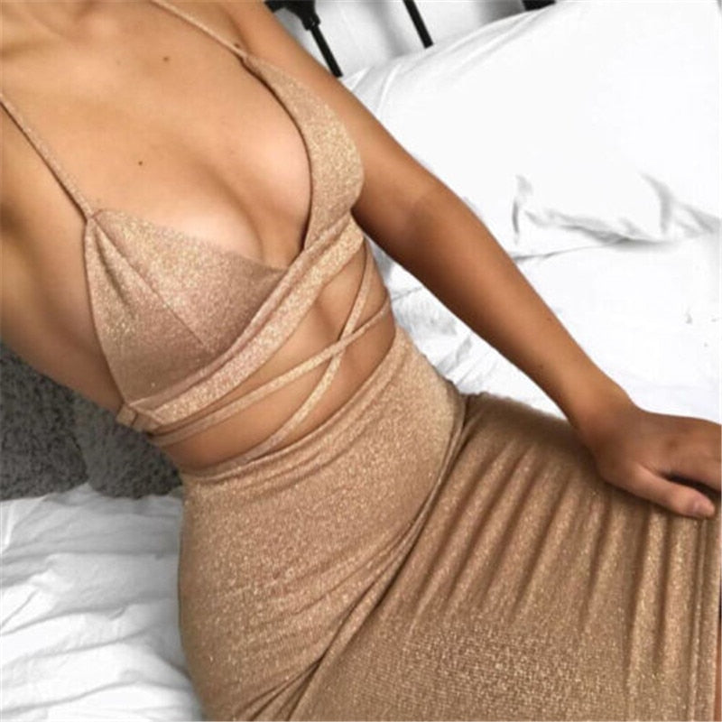 HIRIGIN 2018 Fashion Brand Sexy Summer Dress For Women Clothes Hollow Out Bandage Crop Tops +Mini Dress Ladies Evening Party-geekbuyig