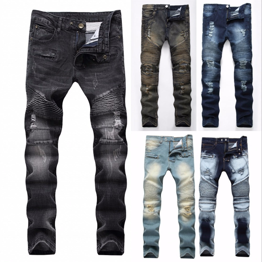2018 Fashion Hip Hop Patch Men Retro Jeans Knee Rap Hole Zipped Biker Jeans Men Loose Slim Destroyed Torn Ripped Denim Man Jeans-geekbuyig