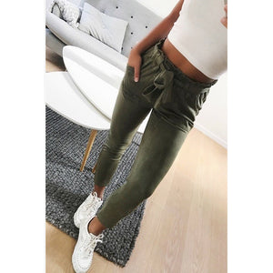 2018 fashion summer women suede pants style ladies Leather bottoms female trouser Casual pencil pants high waist trousers-geekbuyig
