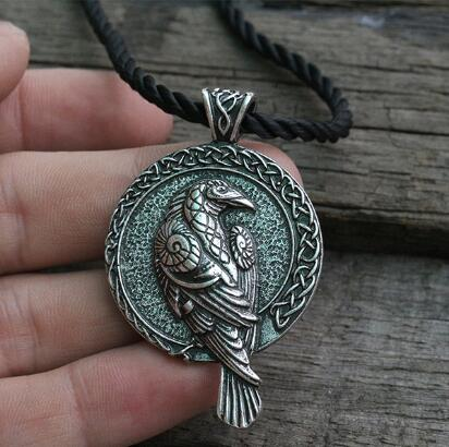 lanseis 1pcs norse talisman viking raven pendant black bird celt crow necklace men pendant jewelry-geekbuyig