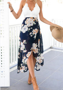 Summer style women lace long flower print patchwork dresses-geekbuyig