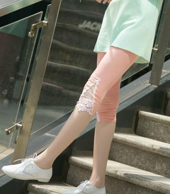 New Women Leggings Fashion Summer Legging Spring Girl Cotton Elastic Triangle Hollow Pants Cropped Trousers Leggins Six Colors-geekbuyig
