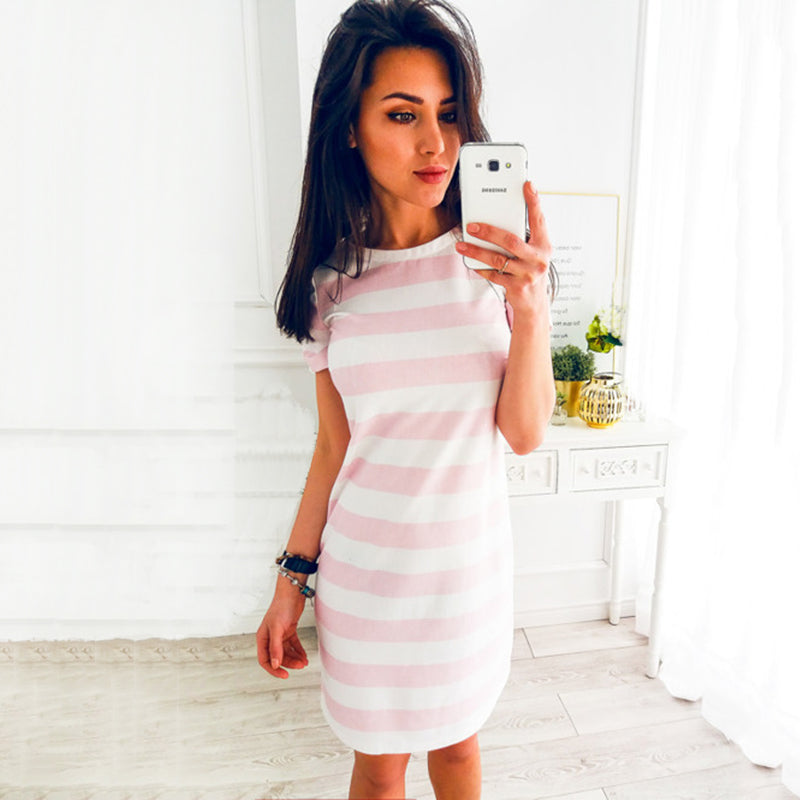 2018 Summer Fashion O-Neck Striped Black Beach Party Dresses New Women Office Casual Loose Temperament Mini Dress Vestidos-geekbuyig