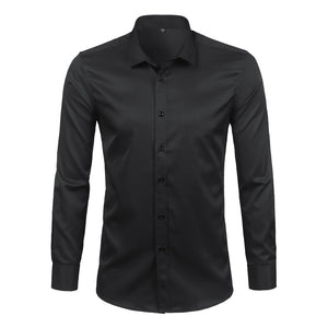Black Mens Bamboo Fiber Shirts 2018 Brand New Casual Slim Fit Long Sleeve Mens Dress Shirts Non Iron Solid Chemise Homme 4XL-geekbuyig