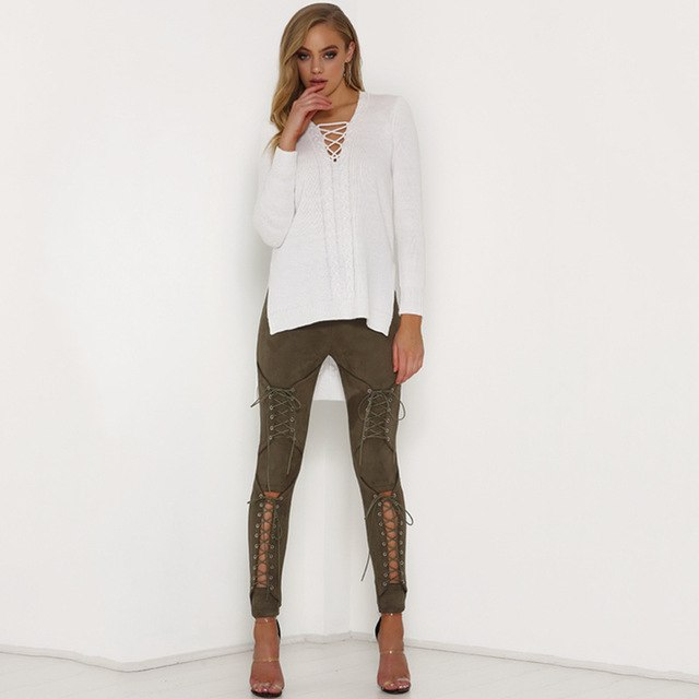 Suede Leather Pencil Pants leggings women Lace Up Cut Out Fashion Trousers Sexy Bandage Legging Pants pantalon femme-geekbuyig