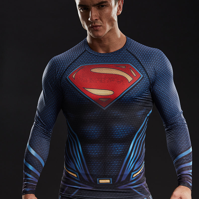 Upgrade Compression Shirt Men 3D Printed T-shirts Raglan Long Sleeve Comics Cosplay Costume Tops For Male fitness Clothing-geekbuyig