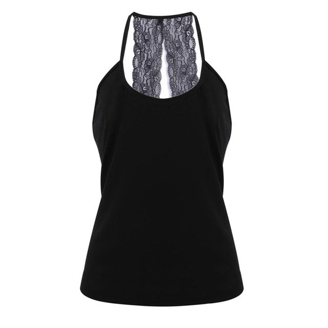 Lace Womens Sexy Vest Fashion Summer Crop Tank Top Casual O neck Leisure Lace Splicing Sleeveless T-Shirt For Female Clothes-geekbuyig