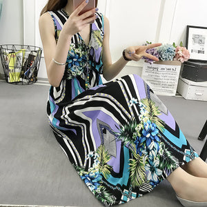 Vintage Women Summer Bohemian Dress Beach Boho Elegant Printed Dresses 2018 New Fashion Flower Loose Plus Size Sleeveless Dress-geekbuyig