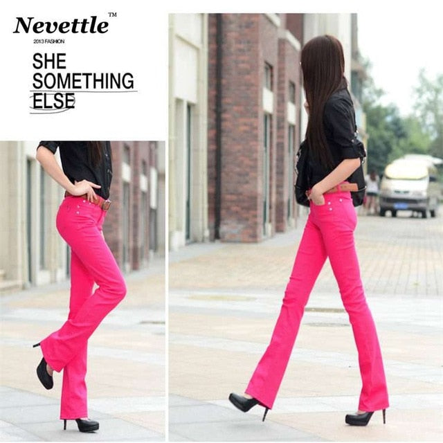 Nevettle Candy Color Skinny Flare Pants OL Women Ladies Office Middle Waist Pocket Denim Pants Trousers Pantalon Mujer-geekbuyig