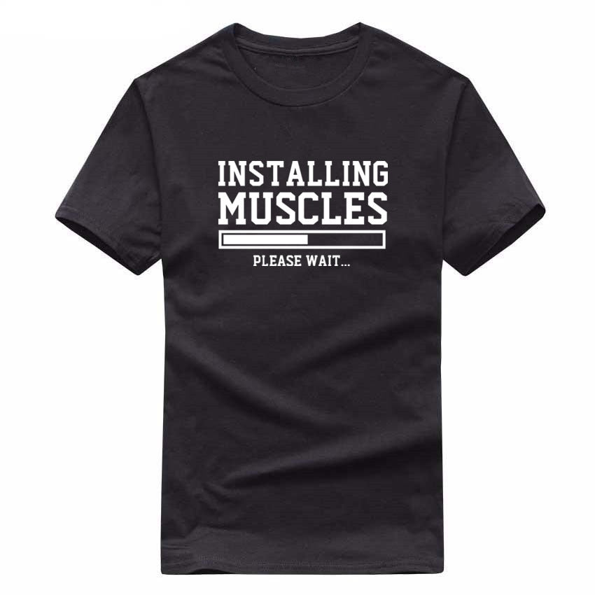 New INSTALLING MUSCLES funny print mens t shirts LIFTBRO WORKOUT SLOGAN BIRTHDAY TShirt Tee Unisex More Size and Colors big-geekbuyig