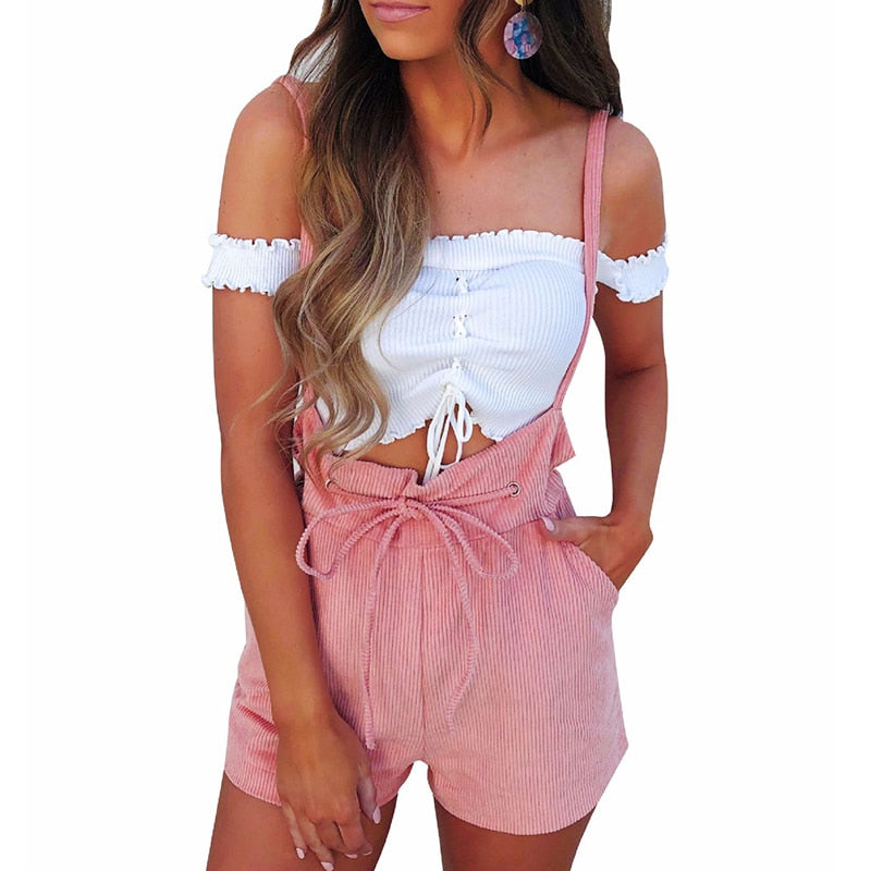 Summer Rompers Womens Jumpsuit Shorts Lace Up High Waist Pink Pants Overalls Drawstring Spaghetti Strap Casual Sexy Streetwear-geekbuyig
