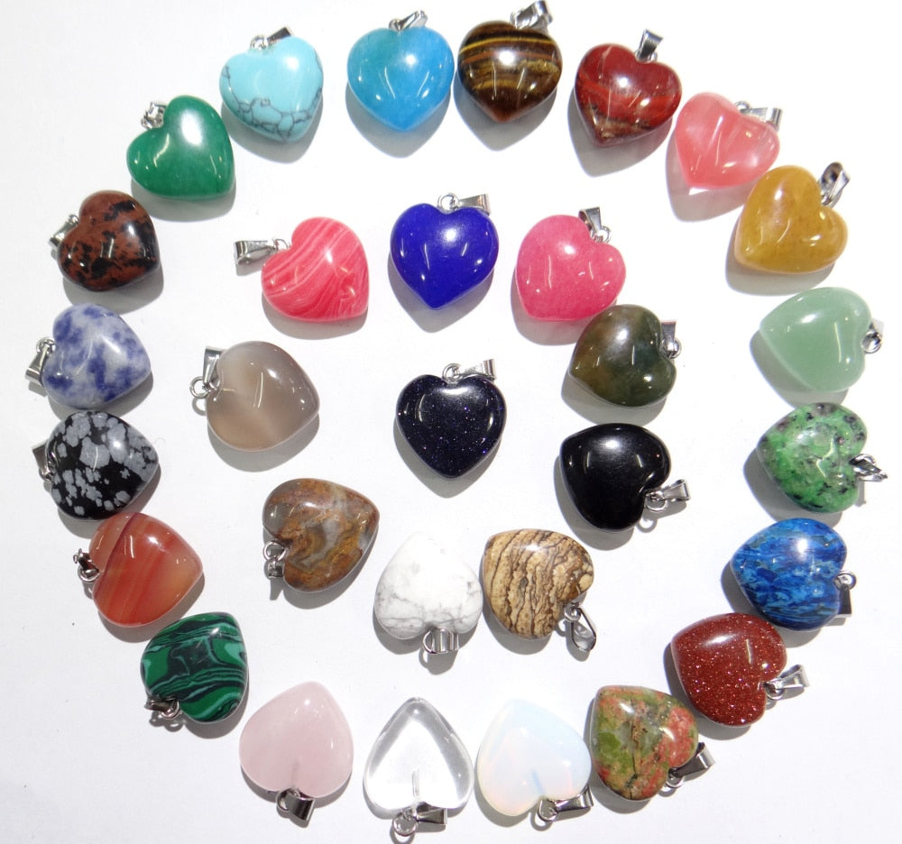 Wholesale Fashion high quality natural stone mixed charms heart pendants for diy jewelry making 30pcs/lot Free Shipping-geekbuyig