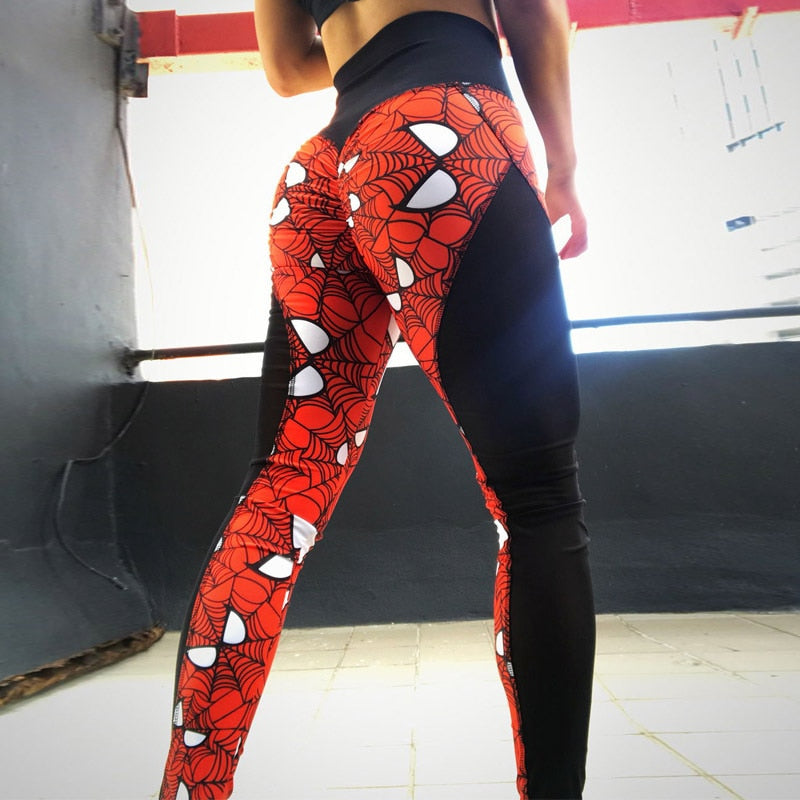 New Super Hero Print Women Push Up Leggings Sexy Mesh Patchwork High Waist Fitness Leggings Breathable Dry Quick Pants-geekbuyig