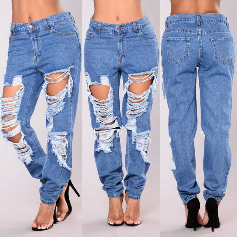 New Fashion Women Loose High Waist Jeans Pants Trousers Denim Stylish Womens Loose Hole Denim Jeans Womens Fashion Denim Pants-geekbuyig