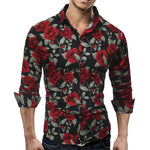 Fashion Mens Luxury Long Sleeve Slim Shirt Casual Fitness Stylish Dress Shirts Tops Stylish Mens Rose Floral Print Dress Shirts-geekbuyig